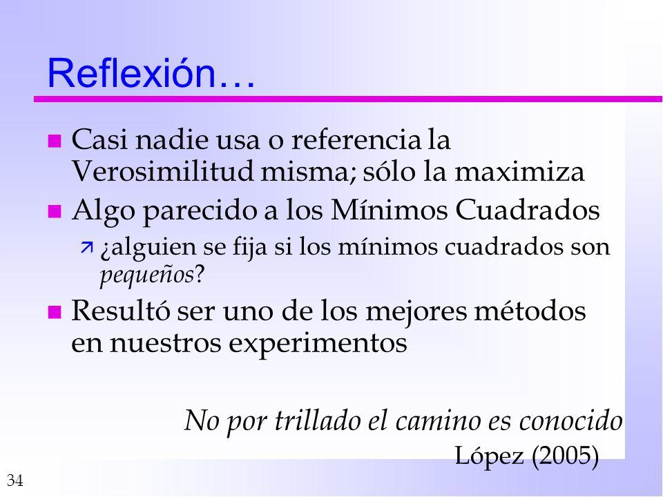 Reflexión… Casi nadie usa o referencia la Verosimilitud misma; sólo la maximiza. Algo parecido a los Mínimos Cuadrados.