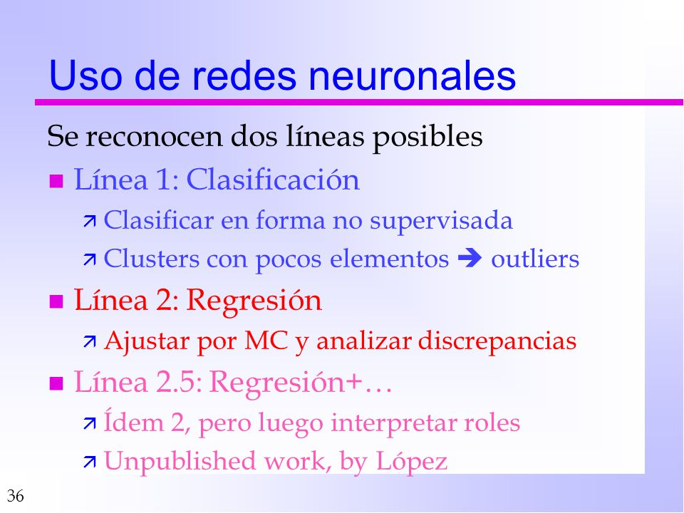 Uso de redes neuronales