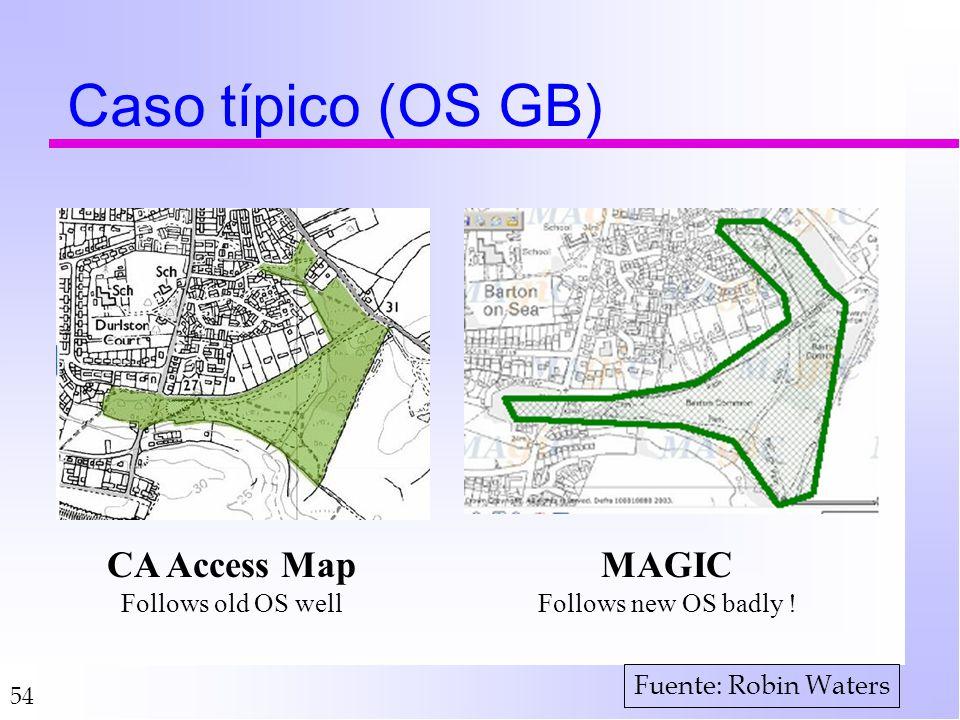 Caso típico (OS GB) CA Access Map MAGIC Follows old OS well