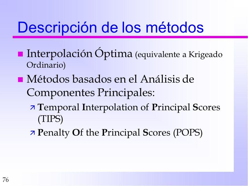 Descripción de los métodos