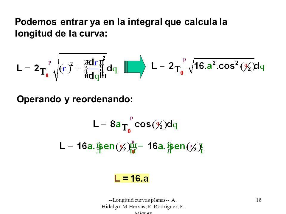 Podemos entrar ya en la integral que calcula la longitud de la curva: