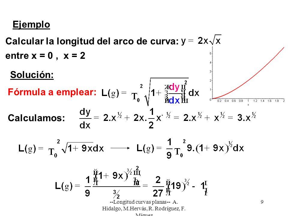 Calcular la longitud del arco de curva: