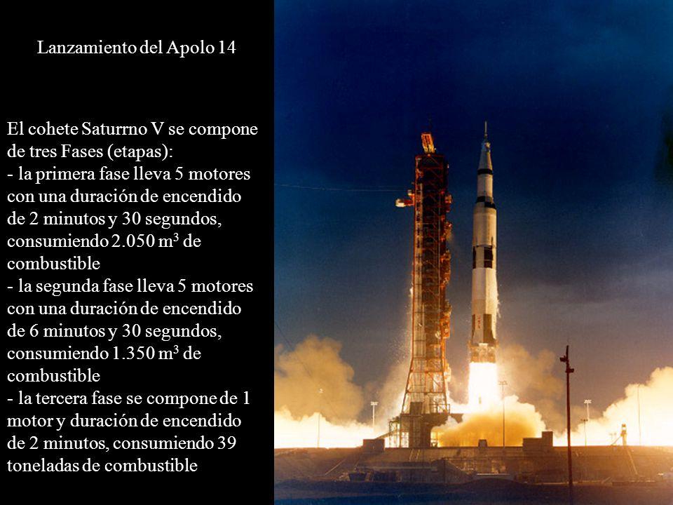 Lanzamiento del Apolo 14 El cohete Saturrno V se compone de tres Fases (etapas):
