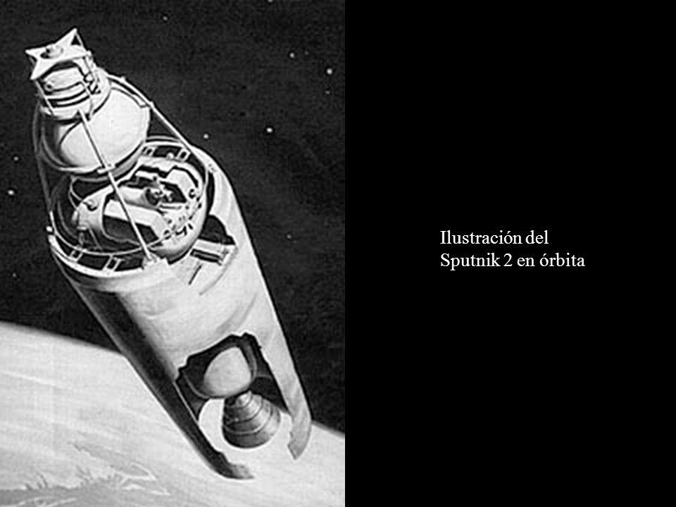 Ilustración del Sputnik 2 en órbita