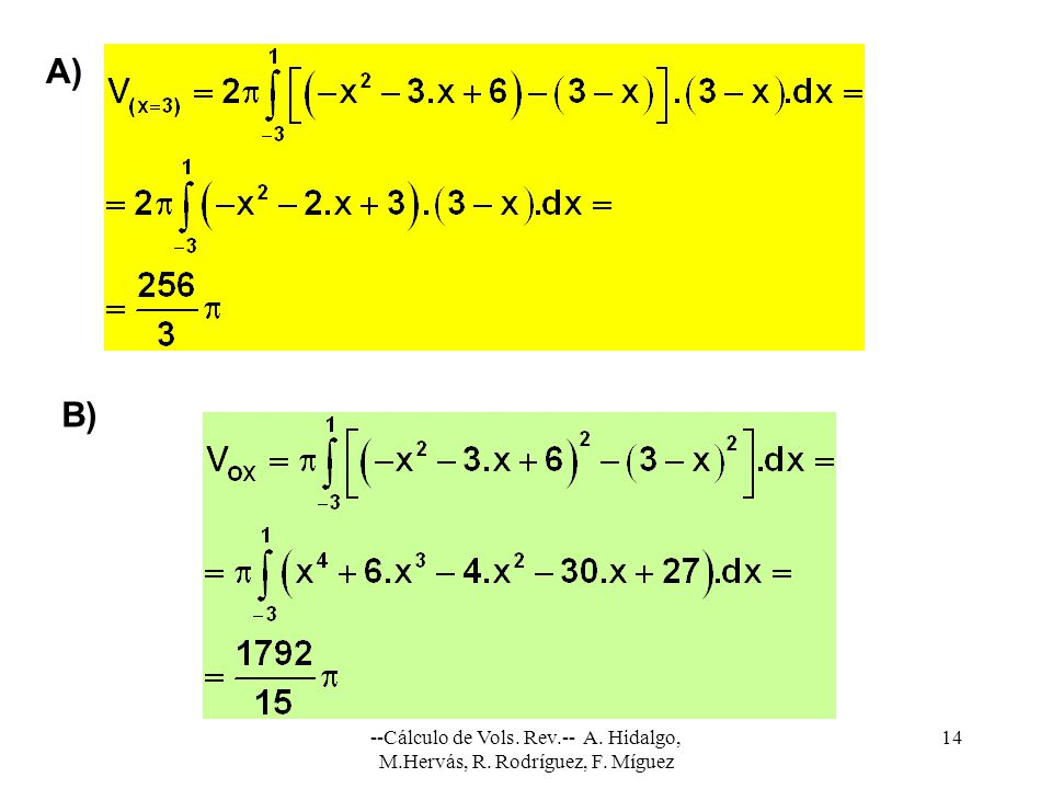 A) B) --Cálculo de Vols. Rev.-- A. Hidalgo, M.Hervás, R. Rodríguez, F. Míguez
