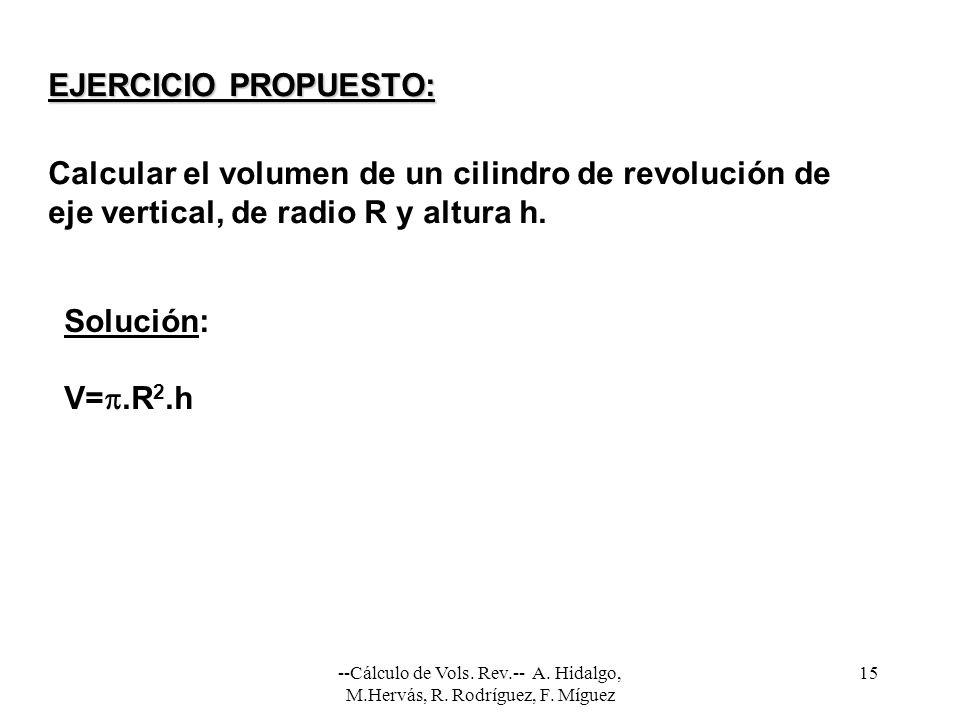 Calcular el volumen de un cilindro de revolución de