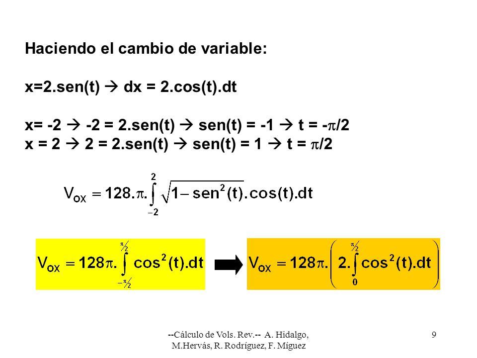 Haciendo el cambio de variable: x=2.sen(t)  dx = 2.cos(t).dt