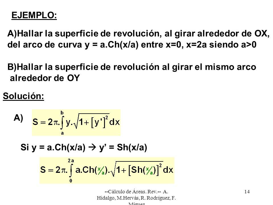 A)Hallar la superficie de revolución, al girar alrededor de OX,