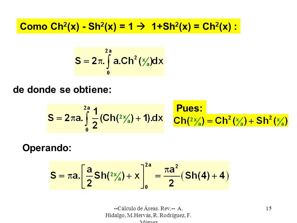 Como Ch2(x) - Sh2(x) = 1  1+Sh2(x) = Ch2(x) :