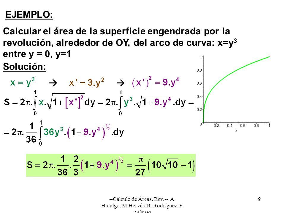 Calcular el área de la superficie engendrada por la