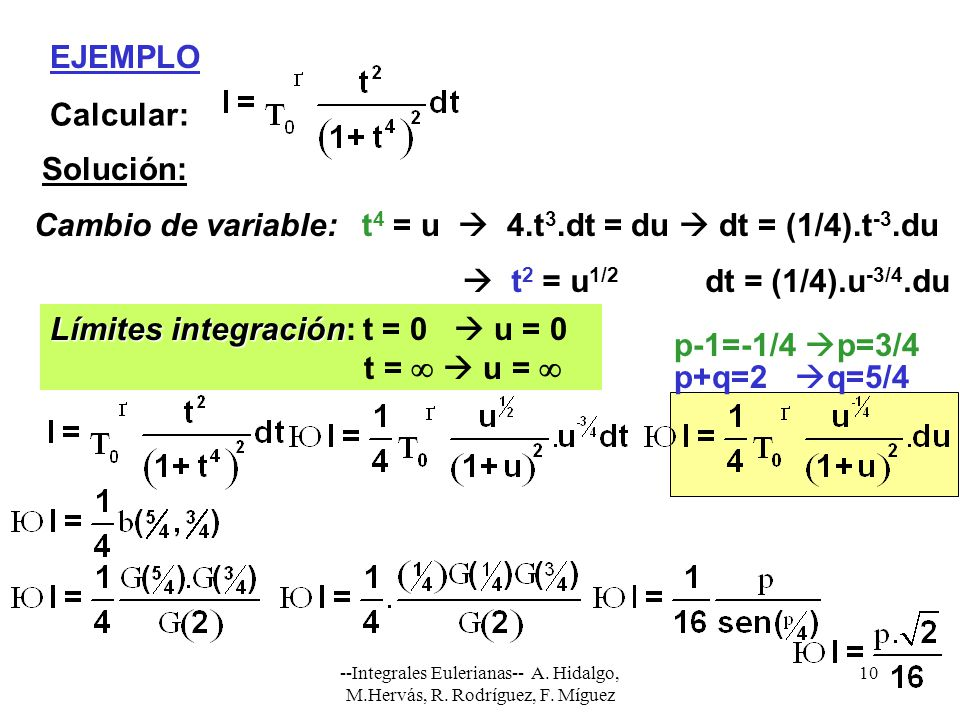 Límites integración: t = 0  u = 0 t =   u =  p-1=-1/4 p=3/4