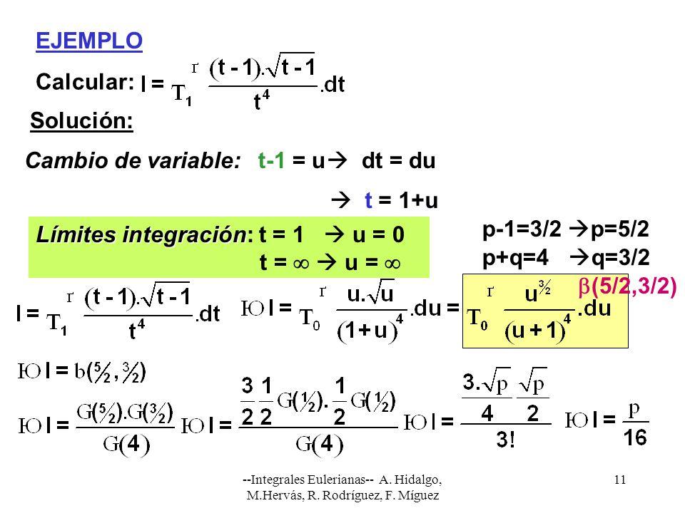 Límites integración: t = 1  u = 0 t =   u =  p+q=4 q=3/2