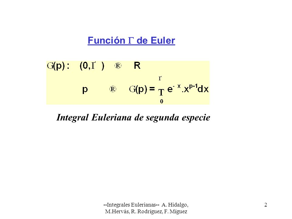 Integral Euleriana de segunda especie
