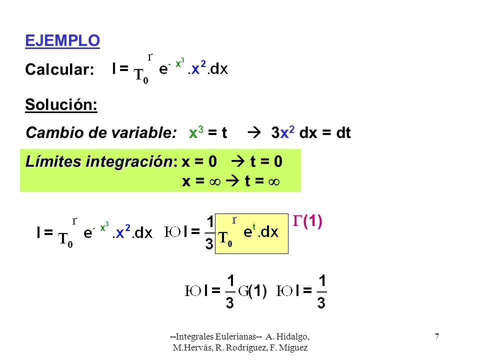 Límites integración: x = 0  t = 0 x =   t = 