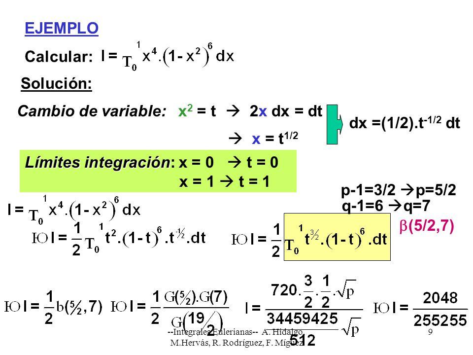 Límites integración: x = 0  t = 0 x = 1  t = 1 p-1=3/2 p=5/2