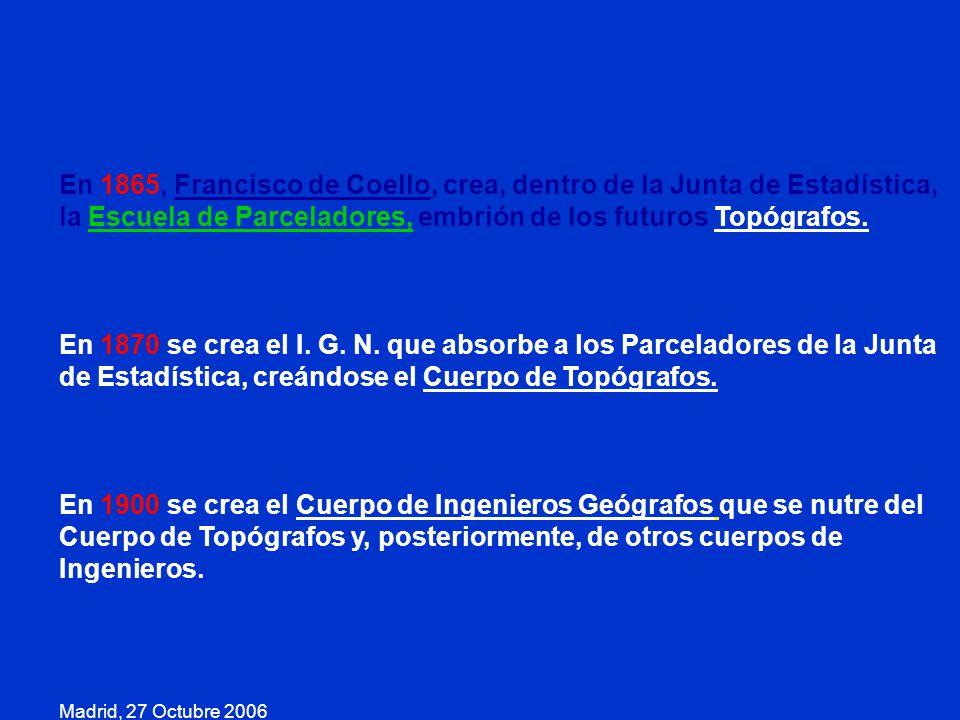 En 1865, Francisco de Coello, crea, dentro de la Junta de Estadística, la Escuela de Parceladores, embrión de los futuros Topógrafos.