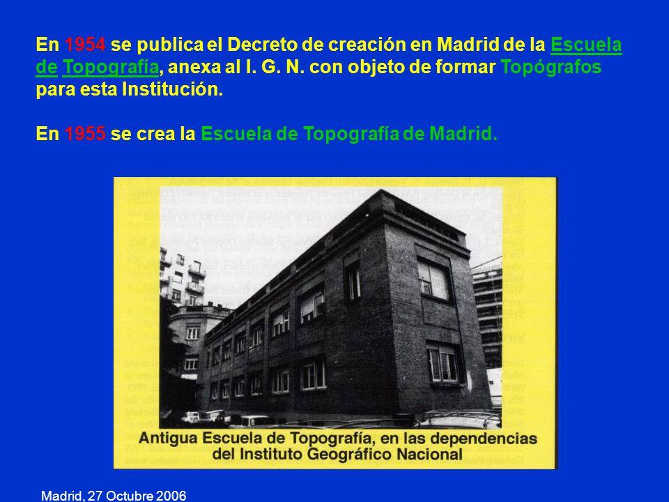 En 1955 se crea la Escuela de Topografía de Madrid.