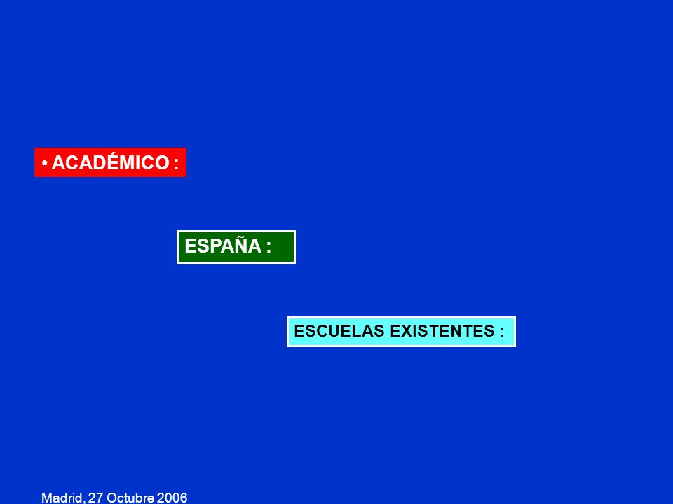 ACADÉMICO : ESPAÑA : ESCUELAS EXISTENTES : Madrid, 27 Octubre 2006