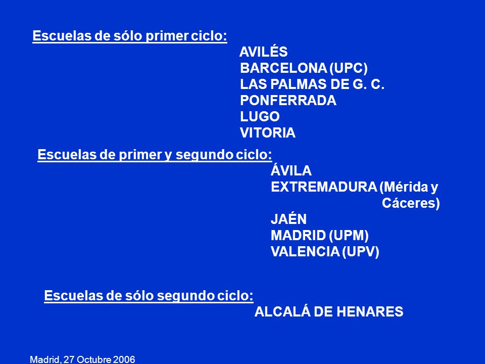 Escuelas de sólo primer ciclo: AVILÉS BARCELONA (UPC)
