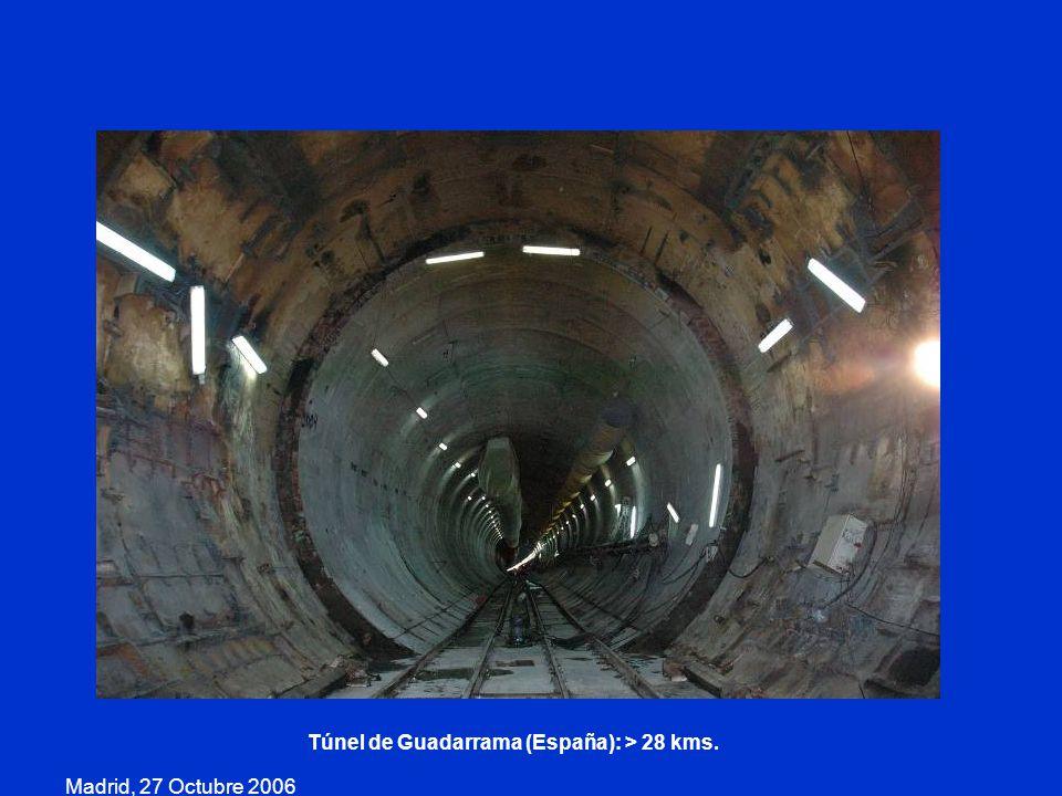 Túnel de Guadarrama (España): > 28 kms.