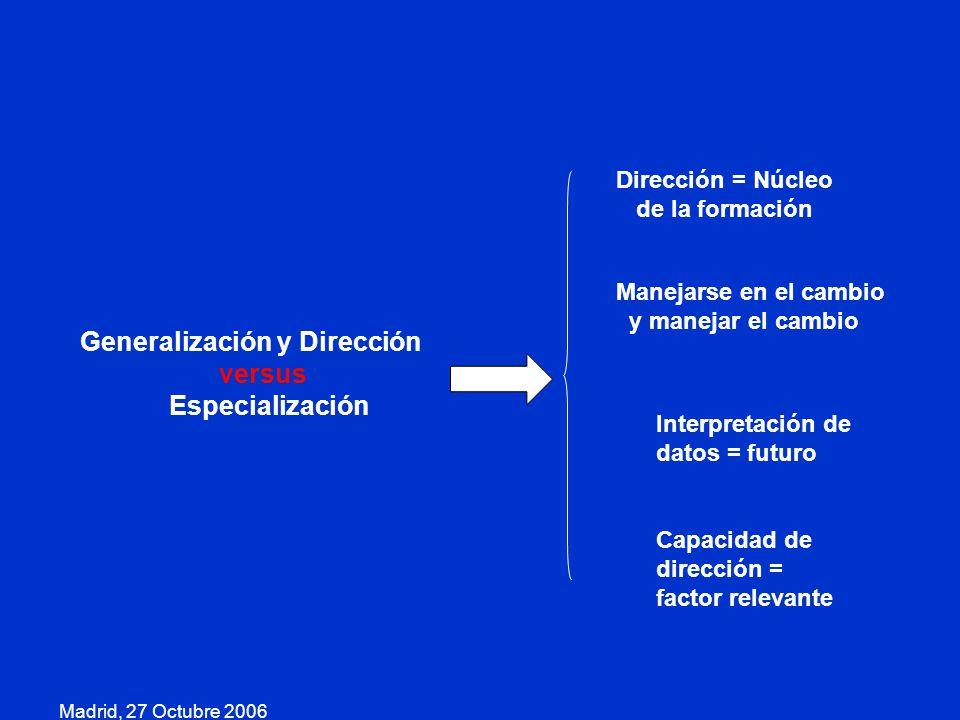Generalización y Dirección versus Especialización