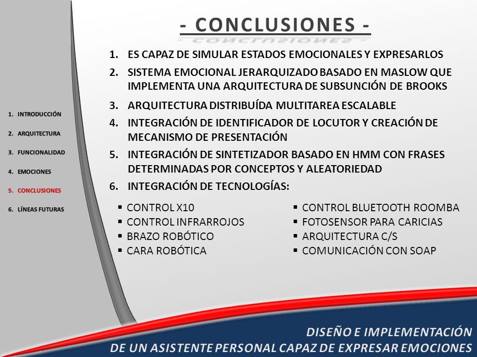 - CONCLUSIONES - ES CAPAZ DE SIMULAR ESTADOS EMOCIONALES Y EXPRESARLOS.