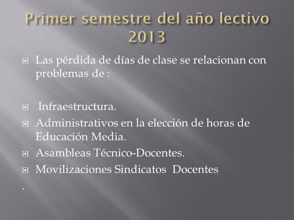 Primer semestre del año lectivo 2013