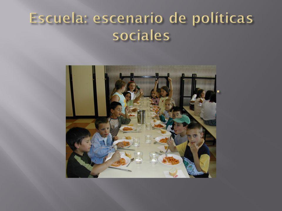 Escuela, escenario Escuela: escenario de políticas sociales de políticas sociales.