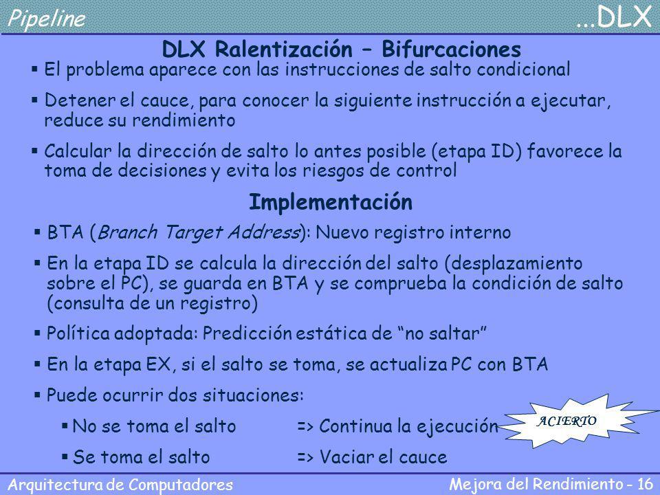 DLX Ralentización – Bifurcaciones