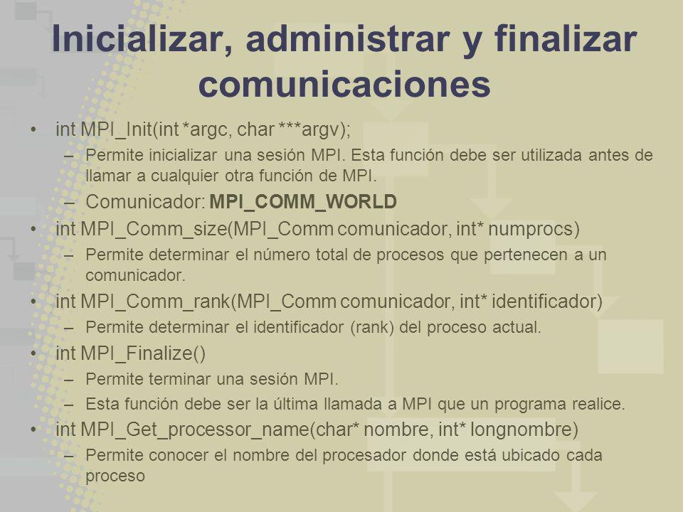 Inicializar, administrar y finalizar comunicaciones