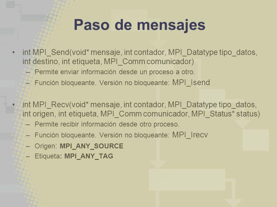 Paso de mensajes int MPI_Send(void* mensaje, int contador, MPI_Datatype tipo_datos, int destino, int etiqueta, MPI_Comm comunicador)