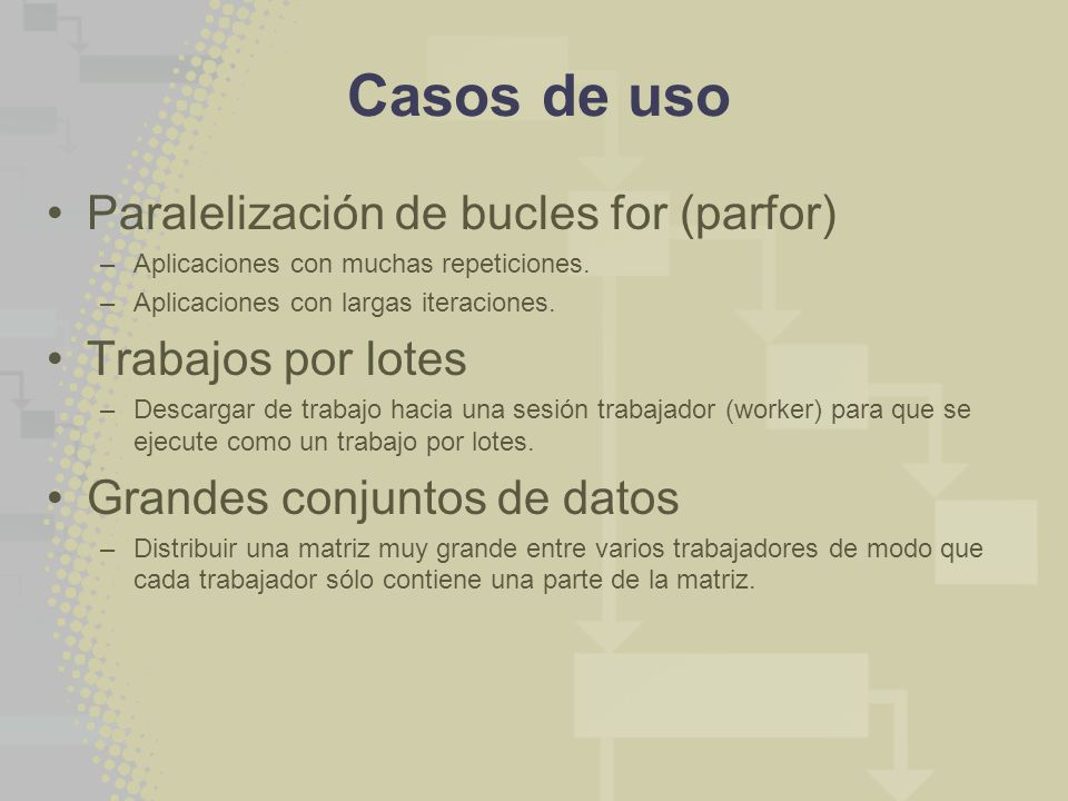 Casos de uso Paralelización de bucles for (parfor) Trabajos por lotes