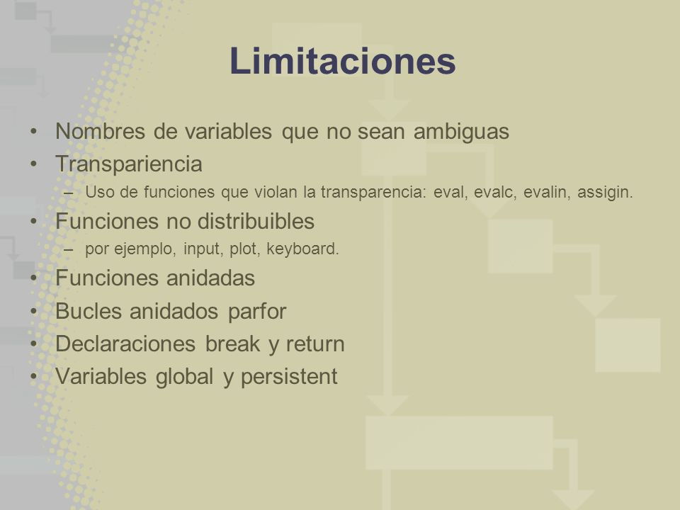 Limitaciones Nombres de variables que no sean ambiguas Transpariencia