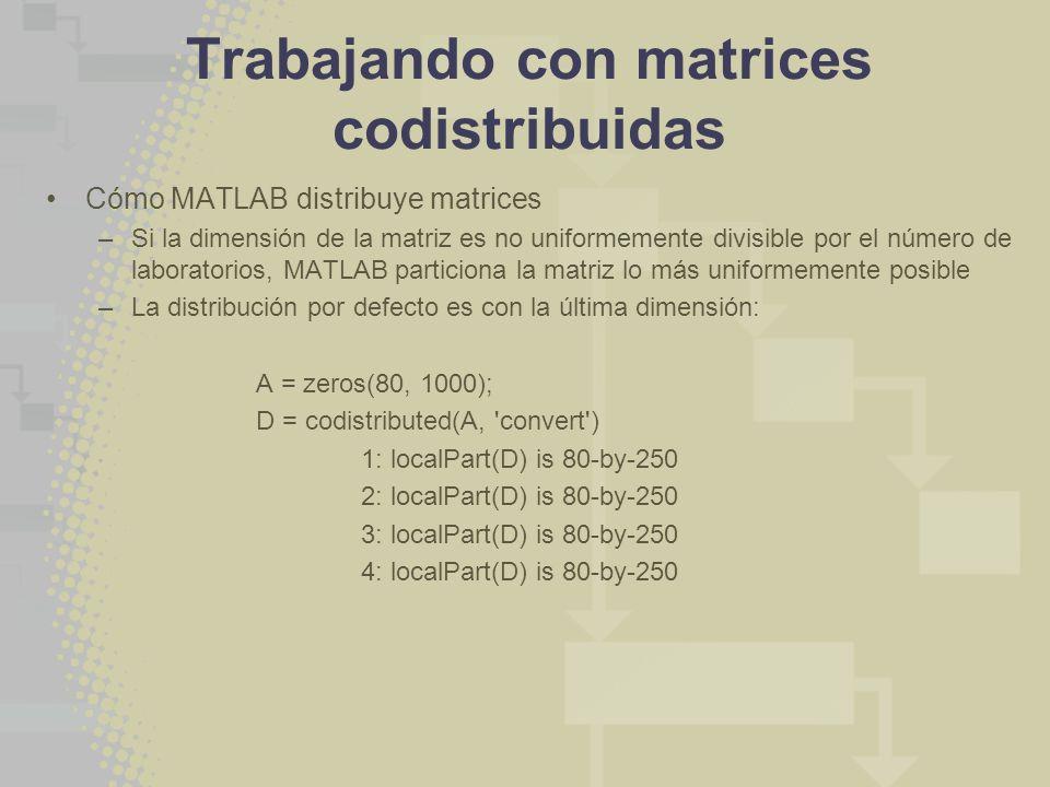 Trabajando con matrices codistribuidas