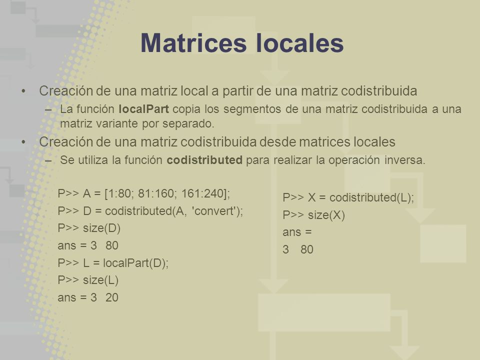 Matrices locales Creación de una matriz local a partir de una matriz codistribuida.