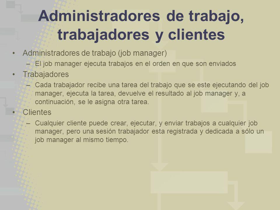 Administradores de trabajo, trabajadores y clientes