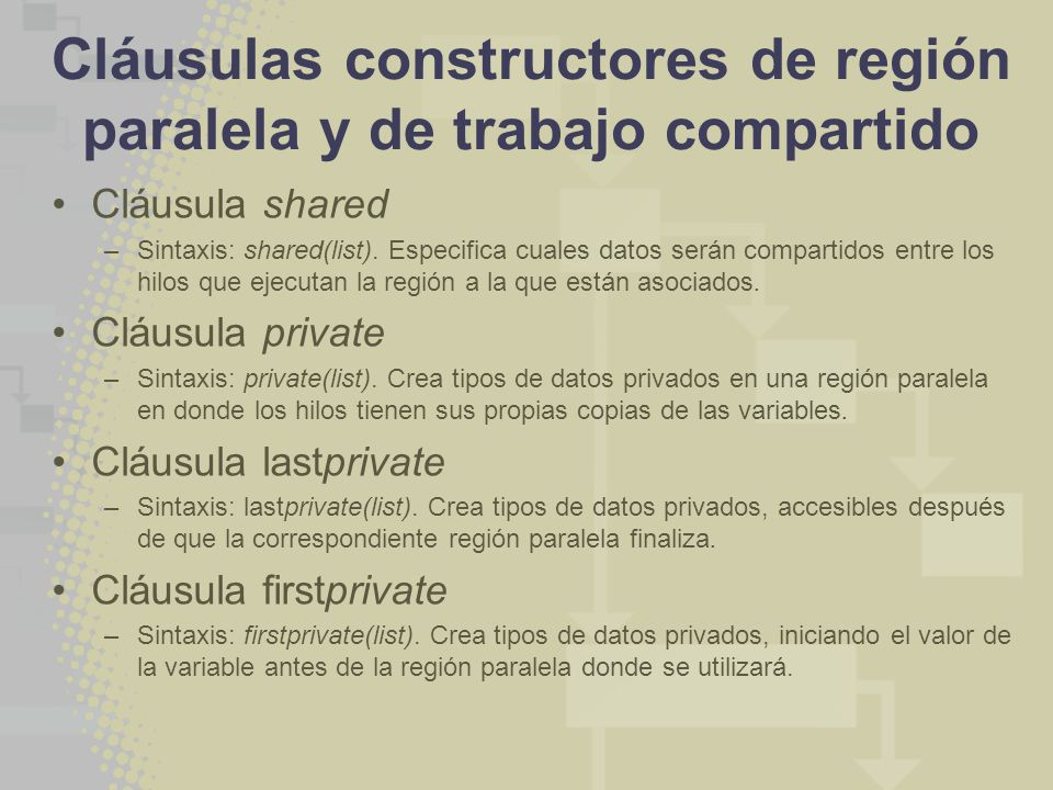 Cláusulas constructores de región paralela y de trabajo compartido