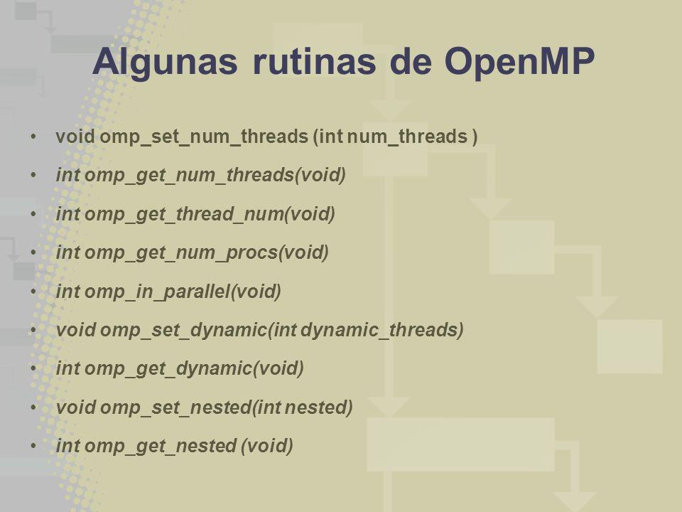 Algunas rutinas de OpenMP