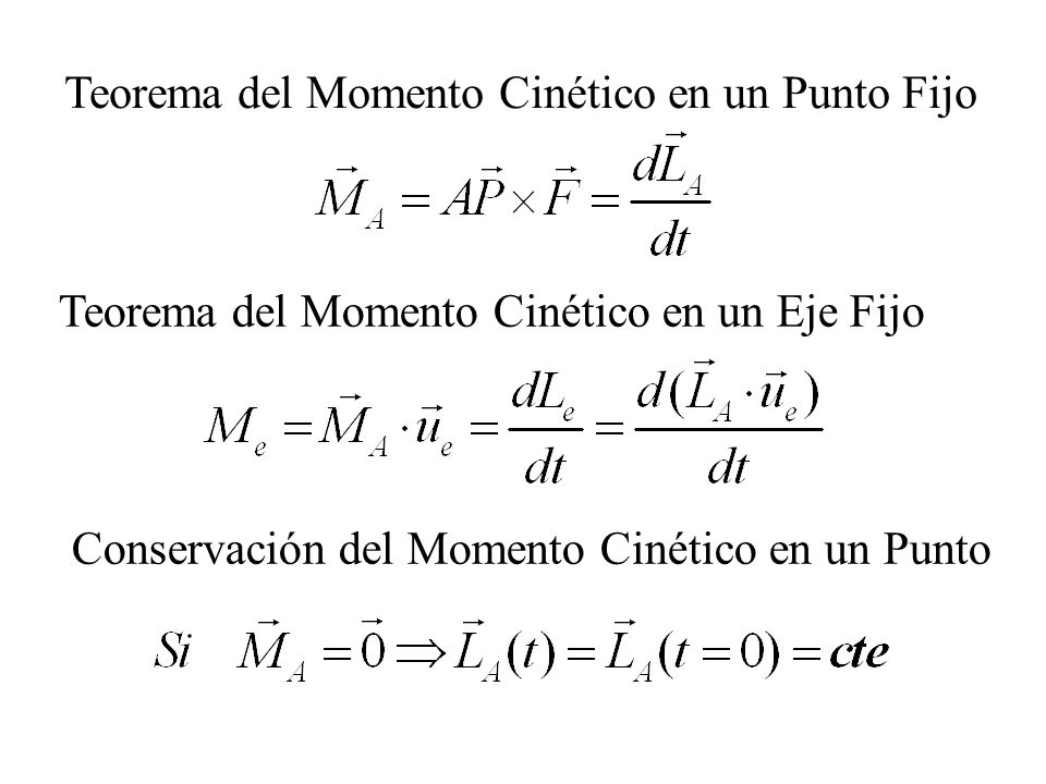 Teorema del Momento Cinético en un Punto Fijo