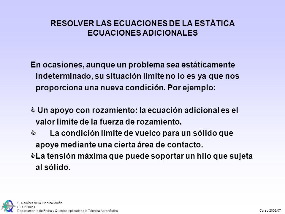 RESOLVER LAS ECUACIONES DE LA ESTÁTICA ECUACIONES ADICIONALES