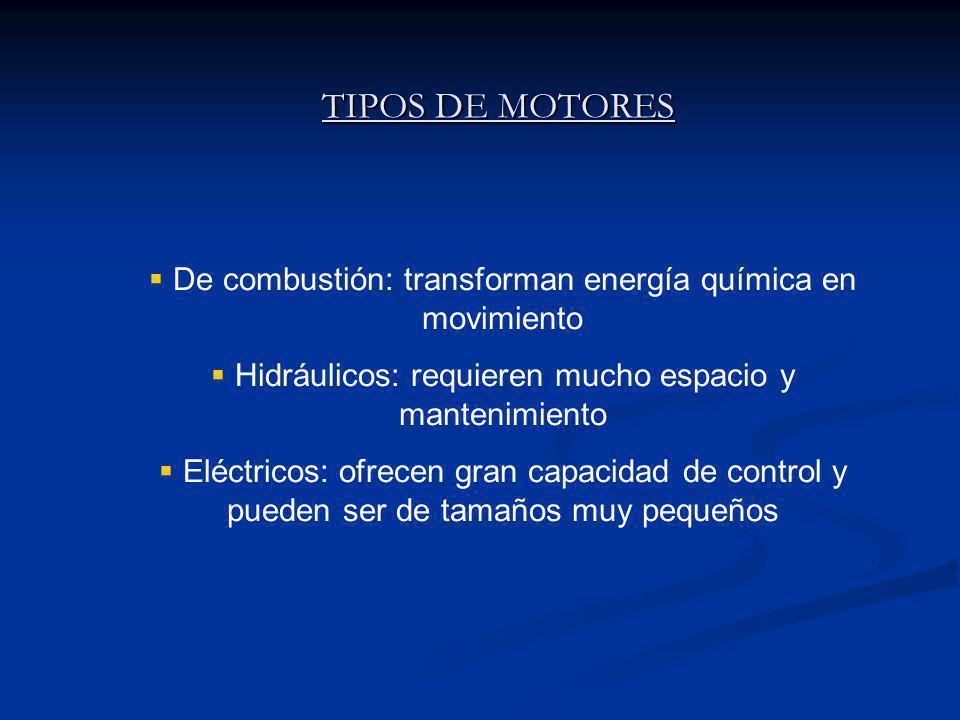 TIPOS DE MOTORES De combustión: transforman energía química en movimiento. Hidráulicos: requieren mucho espacio y mantenimiento.