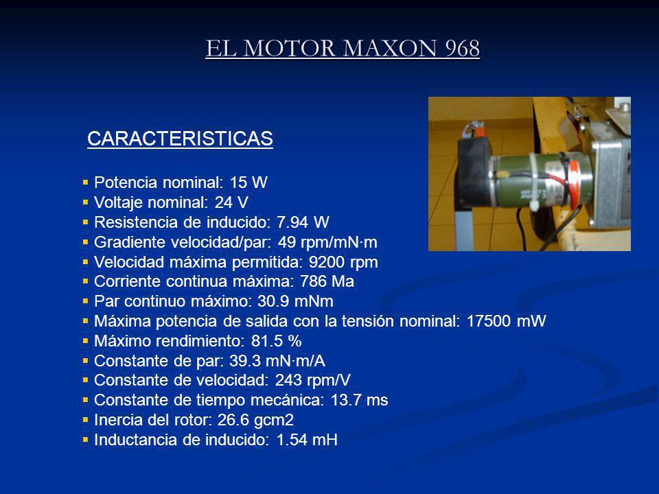 EL MOTOR MAXON 968 CARACTERISTICAS Potencia nominal: 15 W