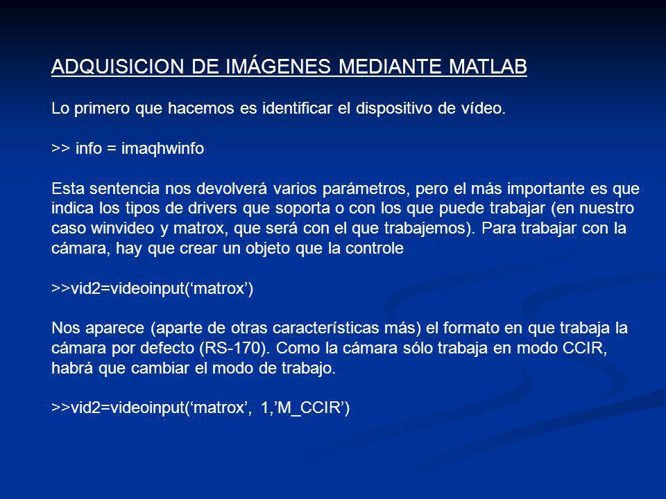 ADQUISICION DE IMÁGENES MEDIANTE MATLAB