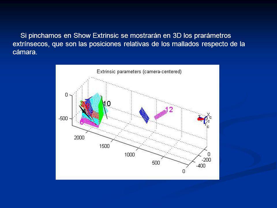 Si pinchamos en Show Extrinsic se mostrarán en 3D los prarámetros extrínsecos, que son las posiciones relativas de los mallados respecto de la cámara.