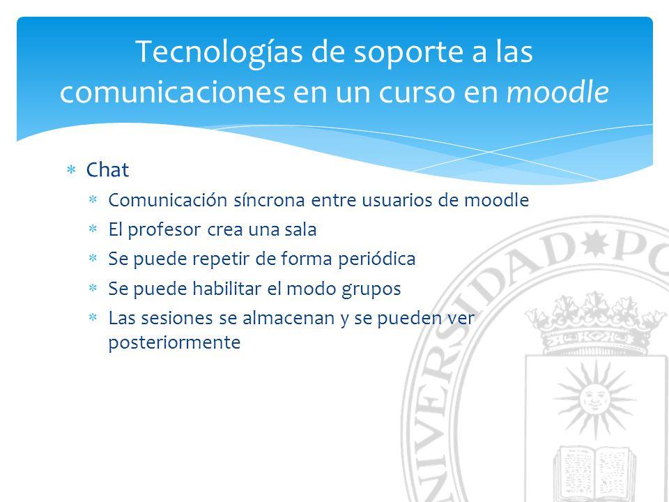 Tecnologías de soporte a las comunicaciones en un curso en moodle