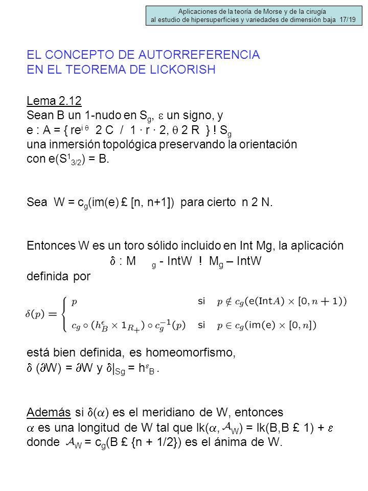EL CONCEPTO DE AUTORREFERENCIA EN EL TEOREMA DE LICKORISH