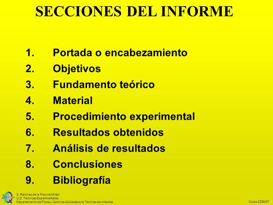 SECCIONES DEL INFORME 1. Portada o encabezamiento 2. Objetivos