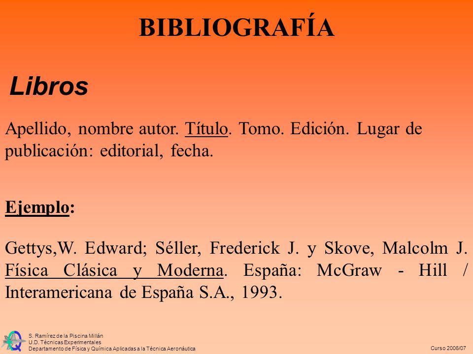 BIBLIOGRAFÍA Libros. Apellido, nombre autor. Título. Tomo. Edición. Lugar de publicación: editorial, fecha.