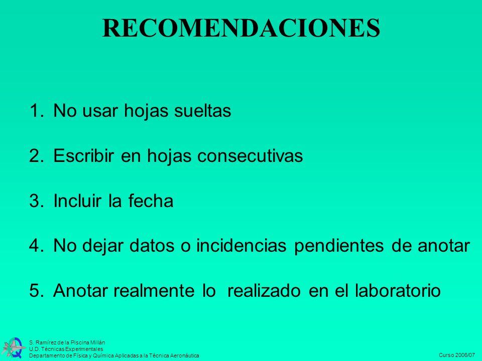 RECOMENDACIONES 1. No usar hojas sueltas