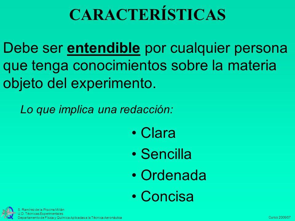 CARACTERÍSTICAS Debe ser entendible por cualquier persona que tenga conocimientos sobre la materia objeto del experimento.